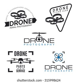 Set of drone logos, badges, emblems and design elements. Quadrocopter store, repair & service logotypes.