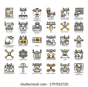 Set of drone thin line and pixel perfect icons for any web and app project.