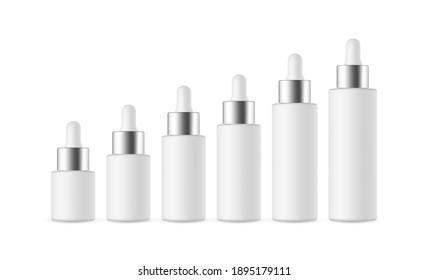 Set of Dropper Bottles with Metal Cap of Various Sizes, Isolated on White Background. Vector Illustration