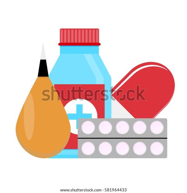Set drugs vector. Medicine bottle for health, pharmacy and drugs illustration