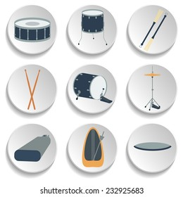 A set of drum icons. Flat design. vector illustration