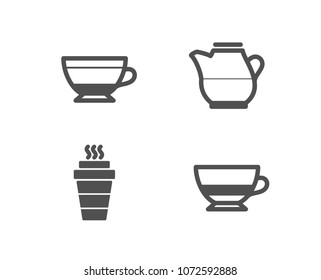 Set of Dry cappuccino, Milk jug and Takeaway icons. Bombon coffee sign. Beverage mug, Fresh drink, Takeout coffee. Cafe bombon.  Quality design elements. Classic style. Vector