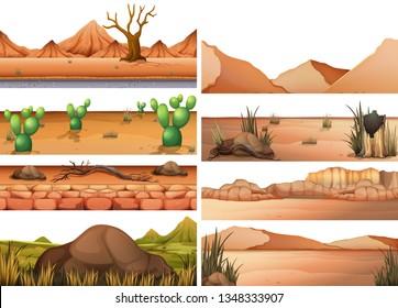 Set of dry land illustration