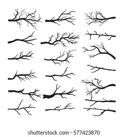 Set of dry tree branch silhouette, isolated on white background