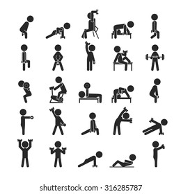Set of dumbbell exercises character , Human pictogram Icons , eps10 vector format