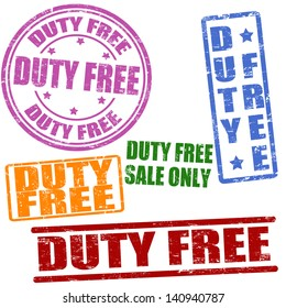 Set of duty free grunge rubber stamps on white, vector illustration