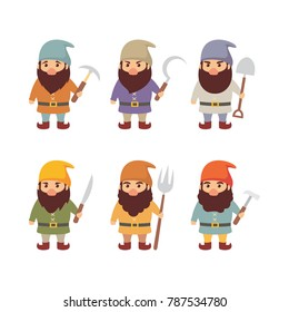 Set of dwarf illustration vector