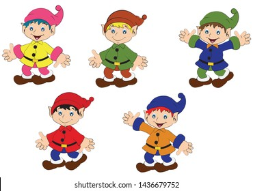 Set of dwarfs in different position. Cartoon Dwarf - Vector