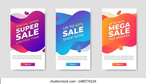 Set of Dynamic abstract shape modern fluid mobile for sale banners. banner template design, Super sale special offer. Vector illustration
