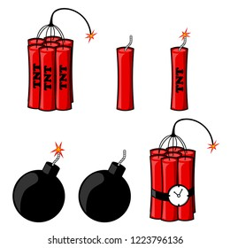 Set  of dynamite, bomb with fire isolated on white background. Explosion. Danger weapon. Vector cartoon design