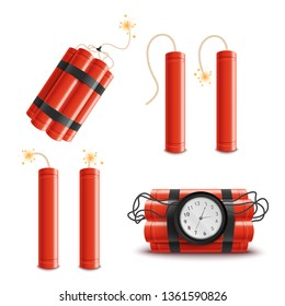 Set of dynamite sticks isolated on white background, red sticks with burning fuses and explosion timer. Realistic cartoon style vector illustration of explosive objects and danger icons.