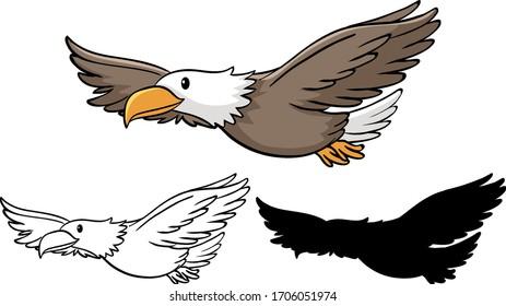Set of eagle cartoon illustration
