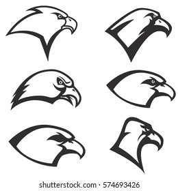 Set of Eagle heads icon isolated on white background. Vector design element.