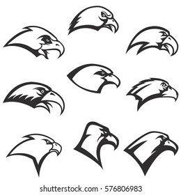 set of eagle heads icons isolated on white background. Design element for logo, label, emblem, sign, poster. Vector illustration.