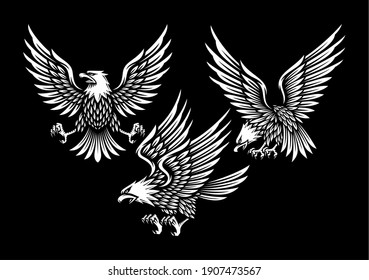 set of eagle illustration in black background.