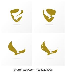Set of Eagle logo design vector. Simple Eagle logo template. Icon Symbol