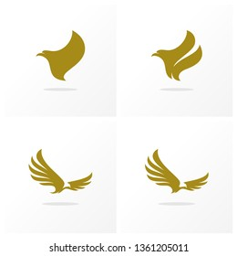 Set of Eagle logo design vector. Simple Eagle logo template. Icon Symbol