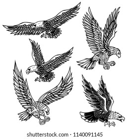 Set of eagles illustrations. Design element for logo, label, emblem, sign, poster, t shirt. Vector image