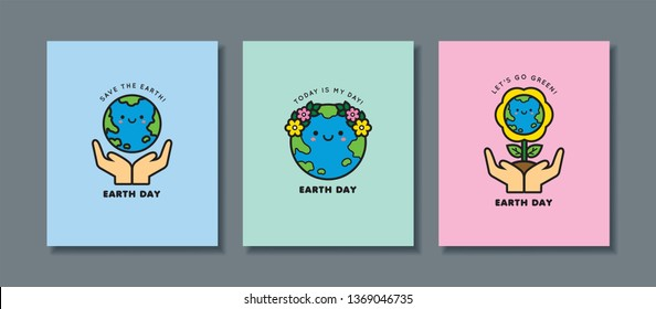 Set of Earth Day greeting card. Cute cartoon Earth icon or symbol. 22 april, Mother Earth Day flat vector illustration. Let's go green & save the Earth.