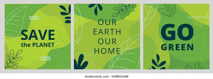 Set of Earth Day posters with green backgrounds, liquid shapes, leaves and elements. Layouts for prints, flyers, covers, banners design. Eco concepts. Vector illustration