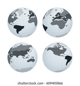 Set of Earth Globe with Abstract Monochrome World Map on White Planet. Vector Illustration.