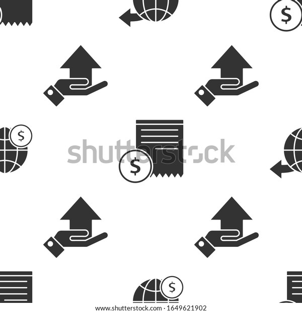 Set Earth globe with dollar, Paper check and financial check and Money on hand on seamless pattern. Vector
