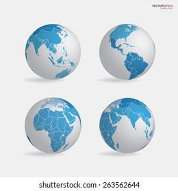 Set of earth globe icon. Vector illustration.