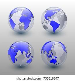 Set of Earth globe on white background,  vector