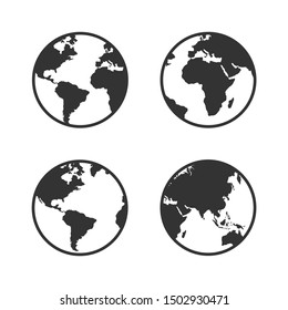 Set of Earth globes isolated on white background