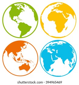 Set of earth planet globe logo icons for web and app. Vector travel, earth planet concept on white background