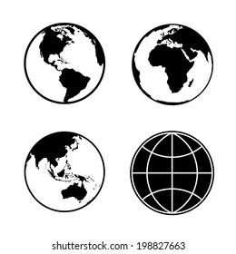 Set of earth planet globe web and mobile icons. Vector.