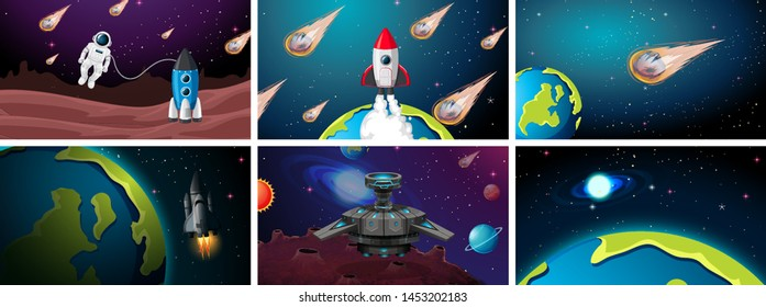 Set of earth, rocket and asteroid scenes illustration