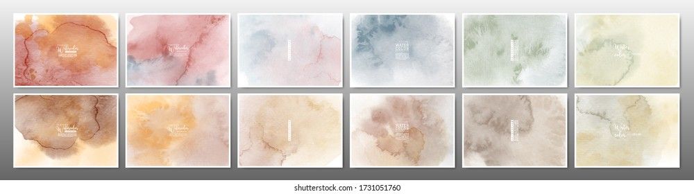 Set of earth tone watercolor background. Stain artistic hand-painted vector, template design for banner, poster, card, cover, brochure.