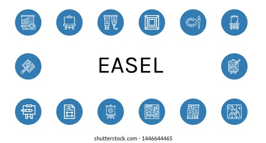 Set of easel icons such as Projector screen, Easel, Paint tube, Art, Canvas, Artboard, Painting, Drawing board , easel