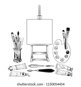 A set with an easel and various art materials: brushes, palette, paint tubes, palette  knifes.Hand-drawn illustration in sketch style. Isolated objects on white background.