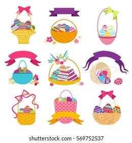 Set of Easter basket with egg. Vector illustration.