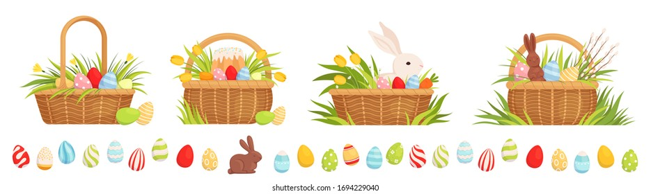 Set of Easter baskets for the holiday. Baskets with colored eggs, tulips, Easter cake and rabbit. Chocolate Hare Easter Egg Border
