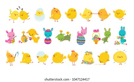 Set of easter bunnies, chicks and eggs isolated icons on white background. Vector illustration