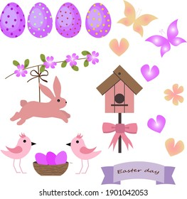 Set with Easter bunny and birds. Icons with attributes for Easter in pink. Vector illustration, For use in decor, invitations, greetings and gifts.