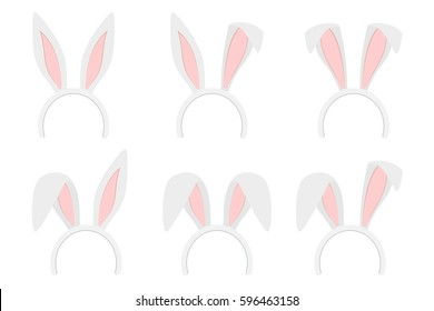 Set of easter bunny ears isolated mask on white background vector illustration