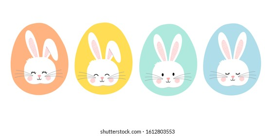 Set of Easter bunny rabbits isolated on white background vector illustration. Cute cartoon characters.