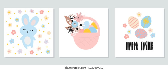 A set of Easter cards. Cute bunny with flowers, egg basket, eggs with happy Easter inscription