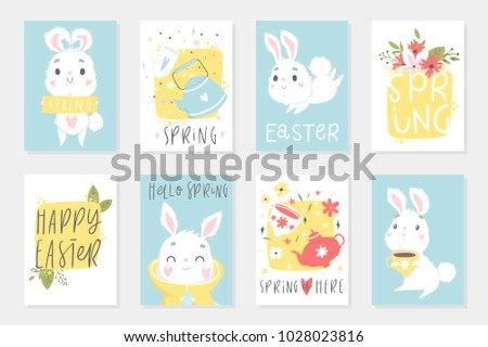 Set easter cards cute cartoon characters stock vector royalty free set of easter cards with cute cartoon characters and type design easter greetings with bunny m4hsunfo