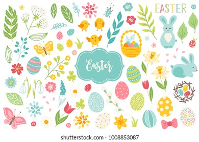 Set of Easter design elements. Eggs, chicken, butterfly, rabbit, tulips, flowers, willow, branches, basket, tulips, narcissus. Perfect for holiday decoration and spring greeting cards