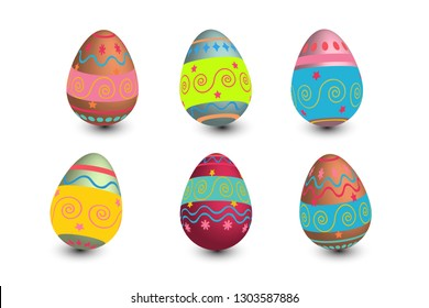 Set of easter eggs colored with metallic paint in differen patterns. Various striped and dotted designs.