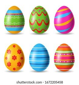 Set of easter eggs decorative. Vector illustration