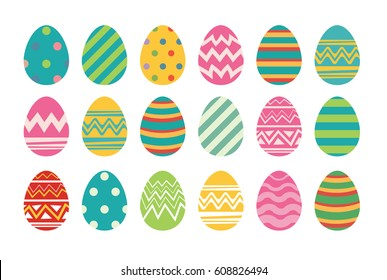 Set of easter eggs flat design on white background.