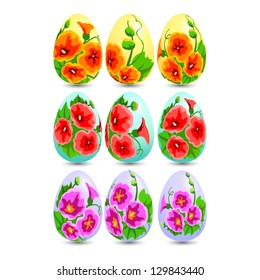 Set of easter eggs with flower decor