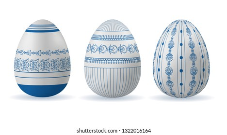 Set of Easter eggs with geometric and floral patterns in folk style. Vector