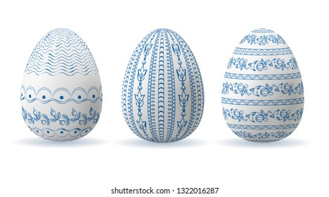 Set of Easter eggs with geometric and floral patterns of blue in folk style. Vector